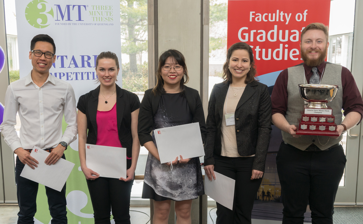 photo of the five winners from the 2018 Ontario 3MT final competition